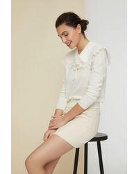 Patou Pullover aus feiner Wolle mit Häkelkragen - Natur