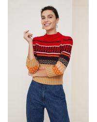 Patou Cropped Jacquard Sweater - Multicolor