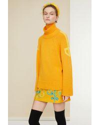 Patou Mini Skirt In Printed Organic Tweed Honey Flower - Yellow