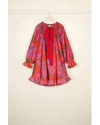 Patou Drawstring puff sleeve Habotai dress - Rojo
