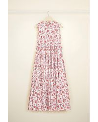 Patou Maxi Tiered Dress In Eco-friendly Printed Cotton Poplin - Pink
