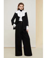 Patou Organic Tweed Jacket With Organic Poplin Collar - Black