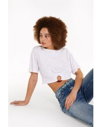 Patrizia Pepe Cropped-Pullover mit Ring - Weiß