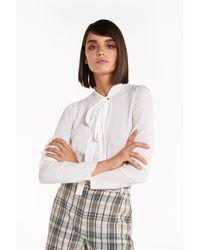 Patrizia Pepe Bluse mit Schärpe - Weiß