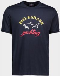 Paul & Shark T-Shirt en algodón organico con Logo impreso - Azul