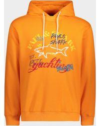 Paul & Shark Sweatshirt aus Bio-Baumwolle mit Kapuze und aufgedrucktem Logo - Orange