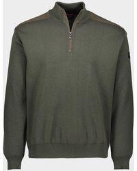 Paul & Shark Maglia in lana con zip e badge iconico - Verde