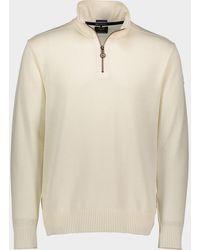 Paul & Shark Jersey con cremallera en lana Bretagne con badge iconico - Blanco