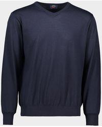 Paul & Shark Jersey con cuello a V en lana Merino extra-fine Winter Summer - Azul