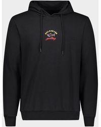 Paul & Shark Sudadera de algodón orgánico con capucha y logotipo estampado - Negro
