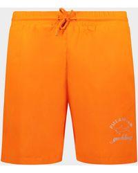 Paul & Shark Bañador con logotipo reflectante estampado - Naranja