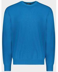 Paul & Shark Girocollo in summer wool con badge iconico - Blu