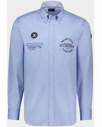 Paul & Shark Camicia in Oxford di cotone organico con ricamo nautico - Blu