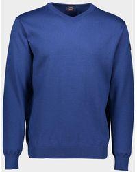 Paul & Shark Pull à col en V en laine Mérinos avec badge iconique - Bleu