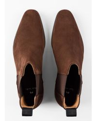 Paul Smith Bottines Chelsea 'Gerald' Marron En Cuir Suédé