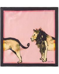 Paul Smith - Pink 'Safari Animals' Print Silk Pocket Square - Lyst