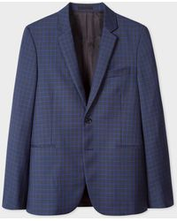 Paul Smith Slim-fit Navy Houndstooth-check Wool Suit - Blue