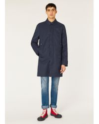 Paul Smith - Navy Cotton-blend Unlined 2-in-1 Mac - Lyst