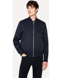 Paul Smith - Navy Cotton-Blend Wadded Bomber Jacket - Lyst