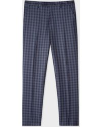 Paul Smith - Slim-Fit Navy Check Wool Trousers - Lyst