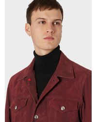Paul Smith Burgundy Suede Trucker Jacket - Red