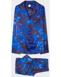Paul Smith Blue 'beetle Botanical' Print Silk Pajama Set