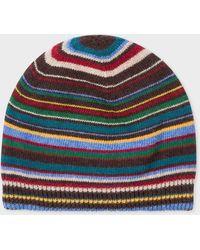 Paul Smith Signature Stripe Wool-cashmere Beanie Hat - Multicolour