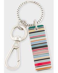 Paul Smith Multi-coloured Stripe Tag Metal Keyring - Multicolour
