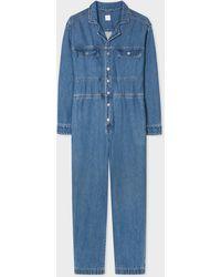 Paul Smith Blue Cotton Denim Relaxed Boiler Suit