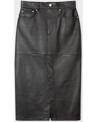Paul Smith Black Leather Midi Pencil Skirt With Split Front