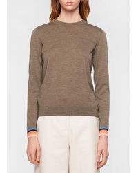 Paul Smith Taupe Wool Sweater With 'artist Stripe' Cuffs - Multicolour