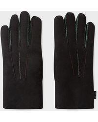Paul Smith Black Suede Sheepskin Gloves