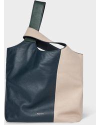 Paul Smith - Ecru Colour Block Leather Tote Bag - Lyst