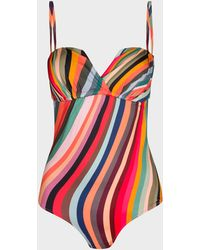 Paul Smith 'swirl' Print Wrap Bandeau Swimsuit - Red
