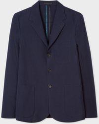 Paul Smith Mid-fit Navy Wool-blend Seersucker Unlined Blazer - Blue
