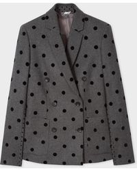 Paul Smith - Grey Double-Breasted Flocked Polka Blazer - Lyst