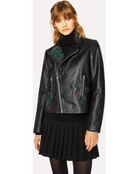 Paul Smith Black Leather Biker Jacket With Embroidered 'karami' Detail