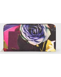 Paul Smith - Large 'Rose Collage' Print Leather Zip-Around Purse - Lyst
