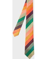 Paul Smith - 'artist Stripe' Narrow Silk Tie With 'ocean' Lining - Lyst