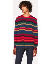 Paul Smith - Red Wool Sweater With Multi-Coloured Stripes - Lyst