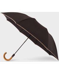 Paul Smith Parapluie Pliant Noir Avec Bordure 'Signature Stripe' Et Pommeau En Bois