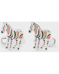 Paul Smith Multi-coloured Stripe 'zebra' Cufflinks - Metallic