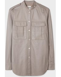 Paul Smith Stone Leather Shirt With Mandarin Collar - Multicolor