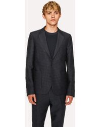 Paul Smith - Mid-Fit Dark Navy Textured-Check Wool-Blend Unlined Blazer - Lyst
