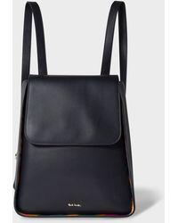 Paul Smith Navy Leather Flap Backpack With 'swirl' Trims - Blue
