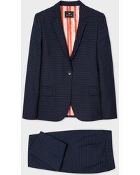 Paul Smith Navy Pin Dot And Stripe Wool-blend Suit - Blue