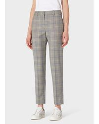 Paul Smith Classic-Fit Grey Check Wool Trousers - Gris