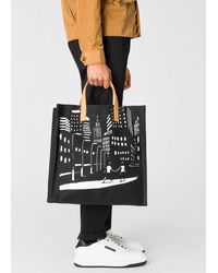 Paul Smith + Christoph Niemann - Black 'night Scene' Print Tote Bag