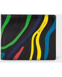 Paul Smith Black Embossed 'zebra' Print Leather Billfold Wallet