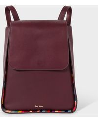 Paul Smith Burgundy Leather Flap Backpack With 'swirl' Trims - Purple